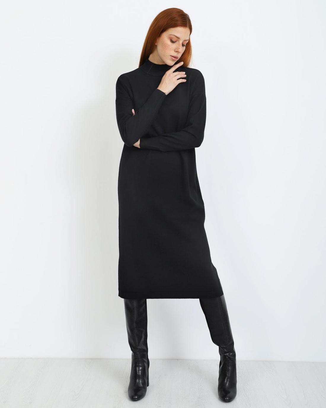 schwarz midi kleid