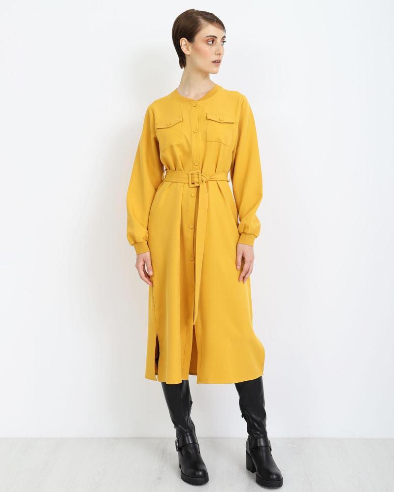 Gelb Midi kleid