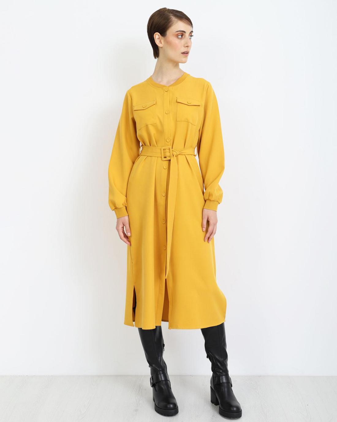 Μίντι φόρεμα κίτρινο