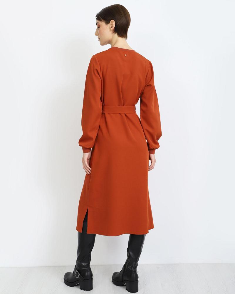 Μίντι φόρεμα κεραμιδί