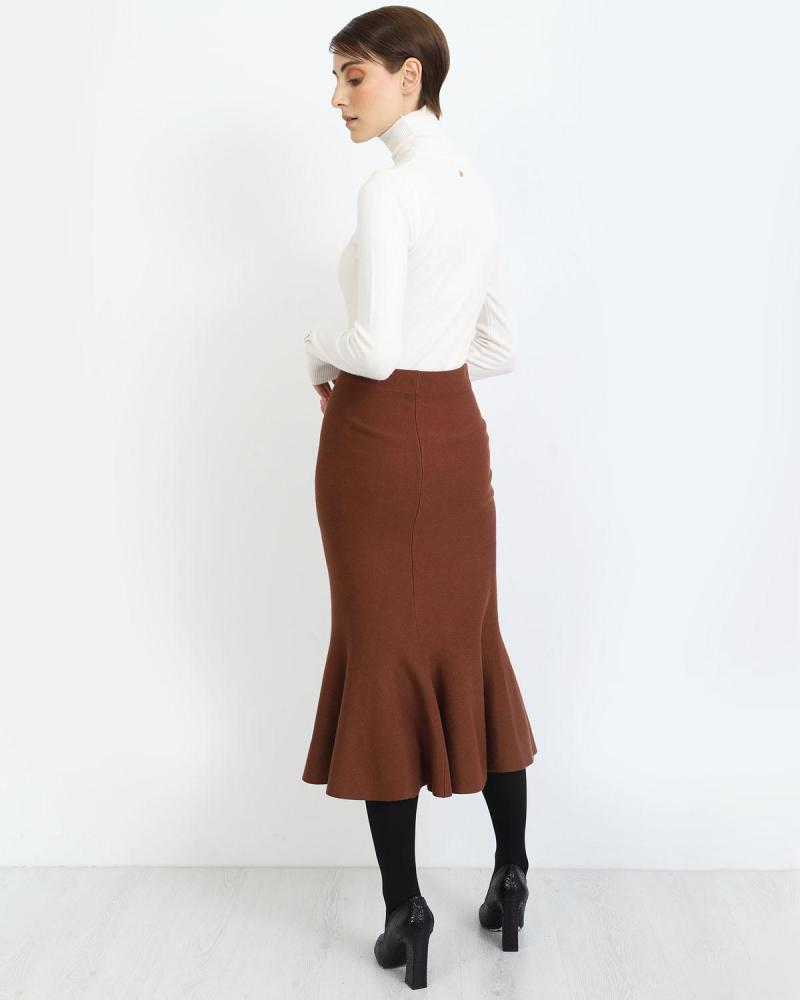 Brown midi skirt