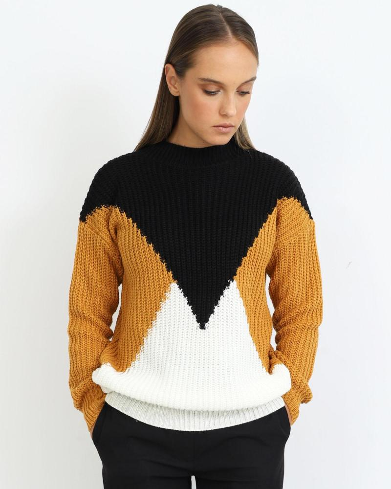 Black/yellow/white pullover