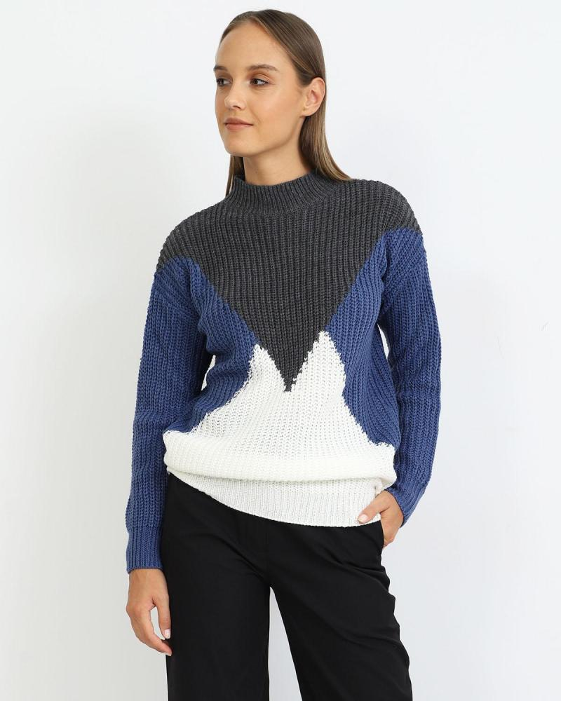 Grey/blue/white pullover