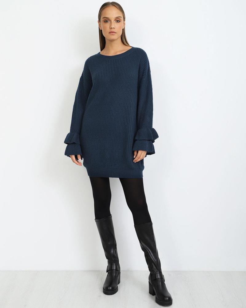 Blau hemdkleid