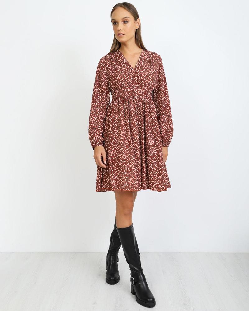 Μίνι φόρεμα καφέ