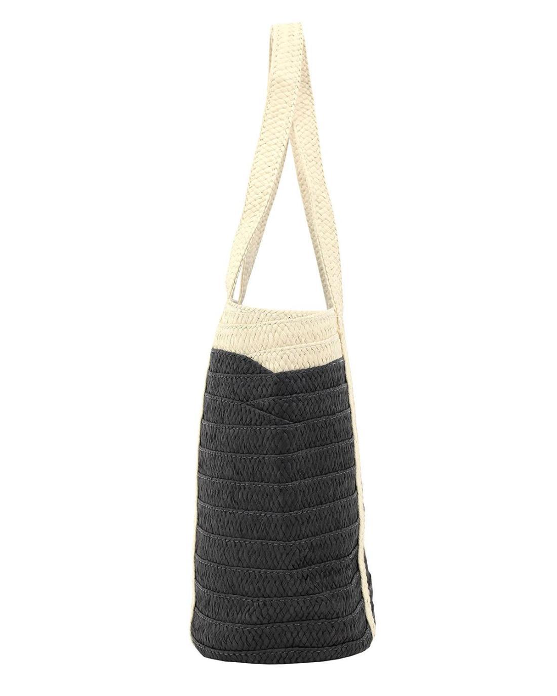 Paper straw black beach bag