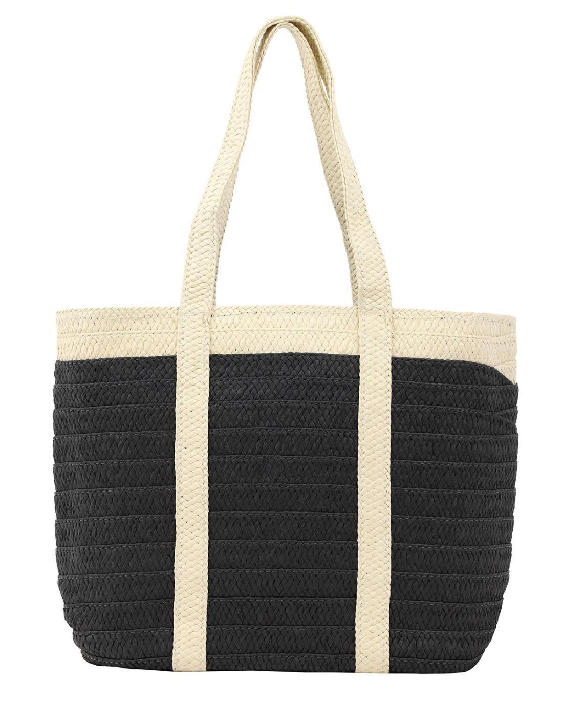 Papierstroh schwarze strandtasche