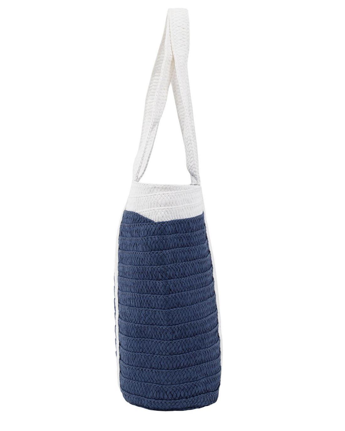 Papierstroh blaue strandtasche