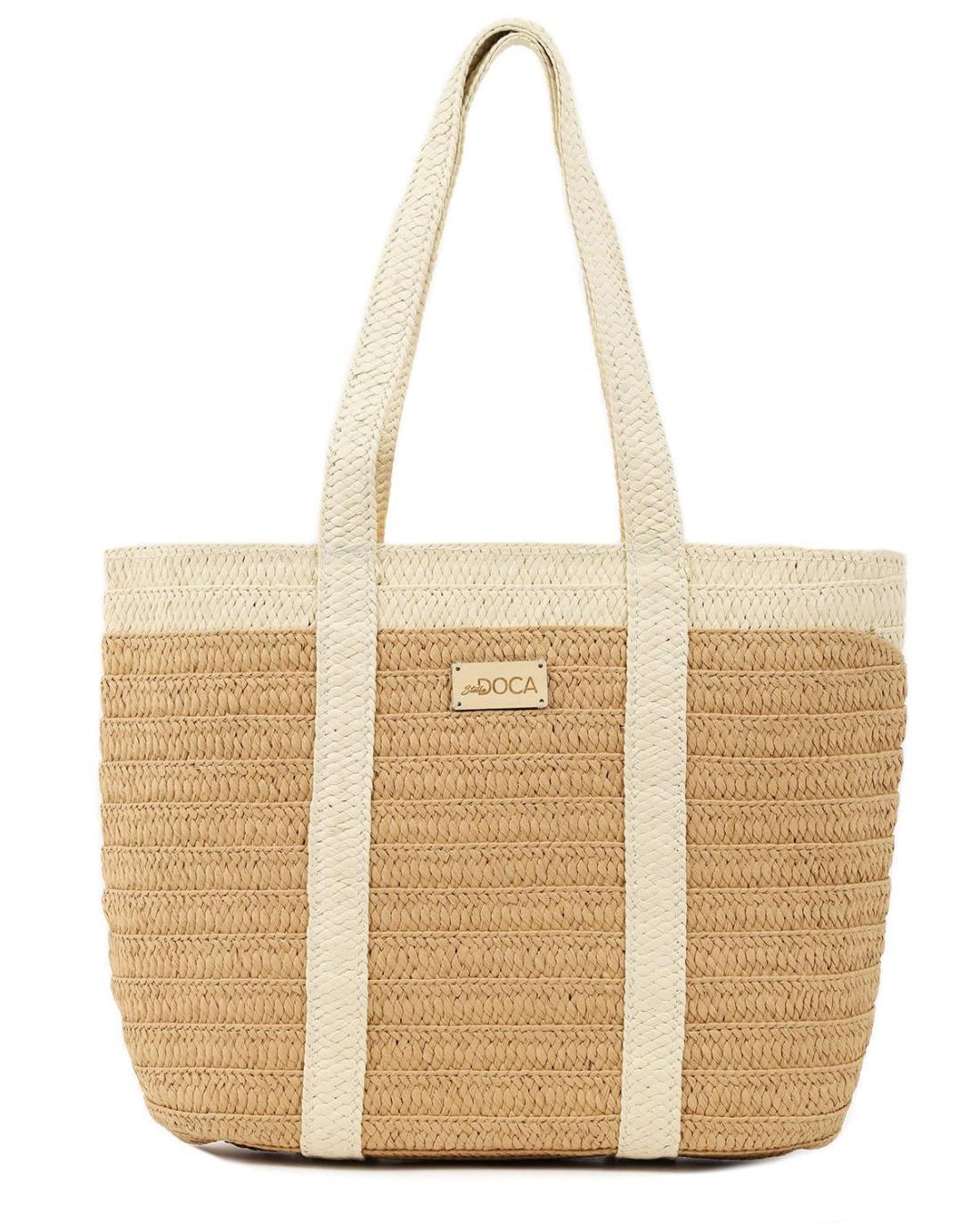 Papierstroh beige strandtasche