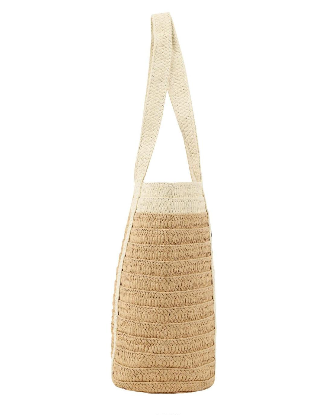 Ψάθινη τσάντα θαλάσσης μπεζ
