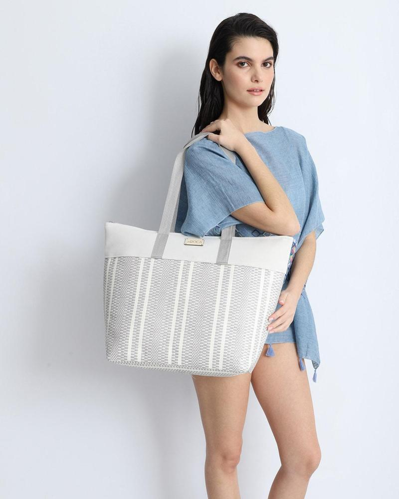 Paper straw grey beach bag