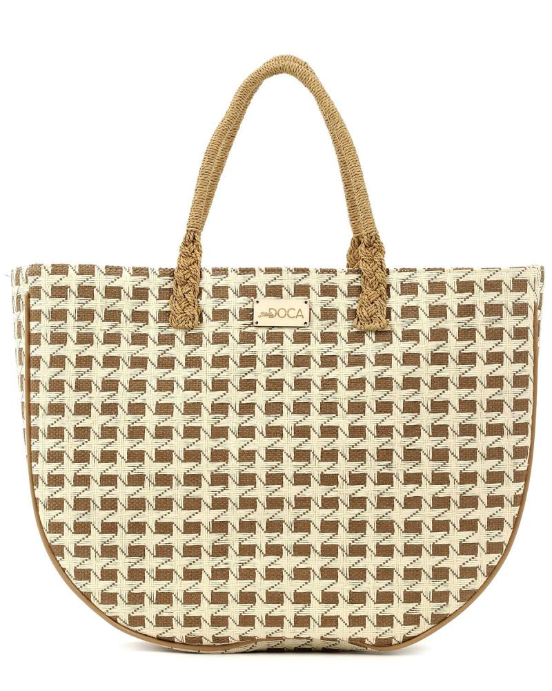 Paper straw brown beach bag
