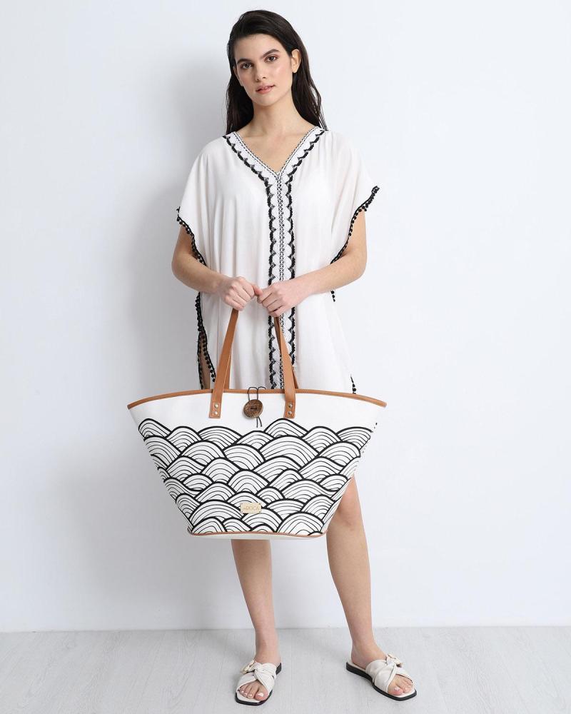 Weiße strandtasche