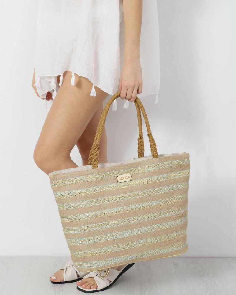 Paper straw green beach bag