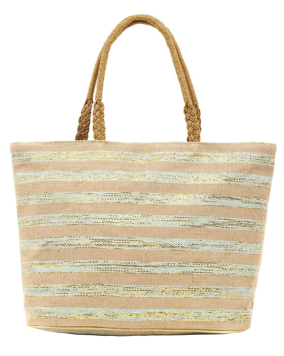 Ψάθινη τσάντα θαλάσσης πράσινη