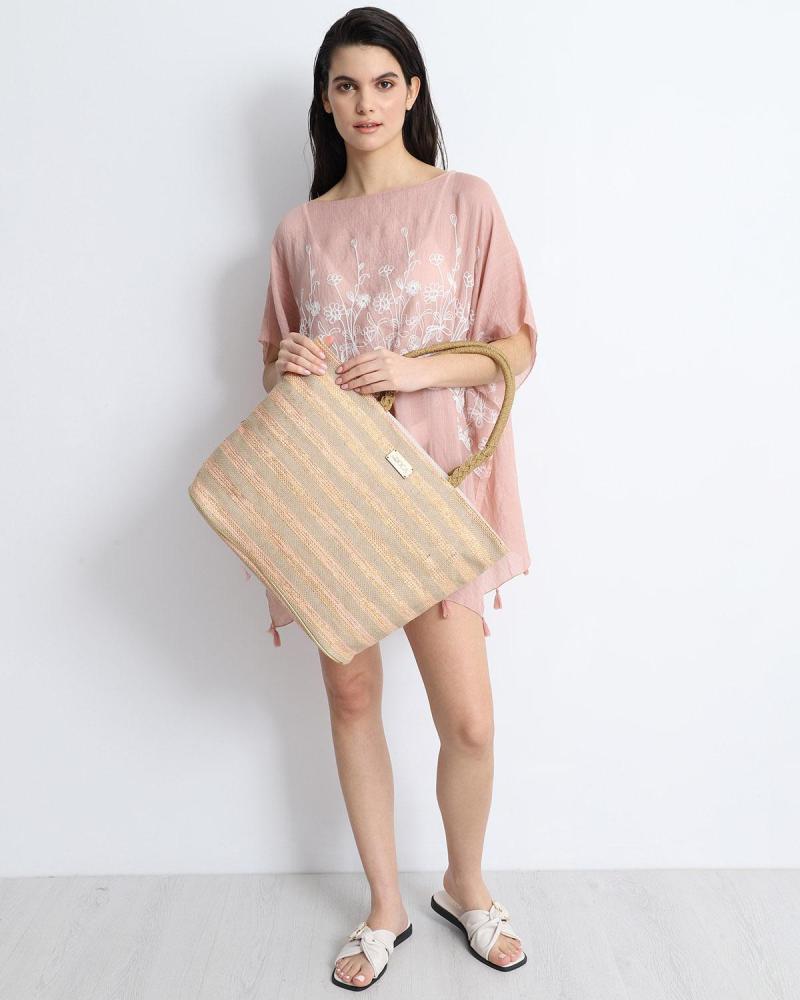 Ψάθινη τσάντα θαλάσσης ροζ