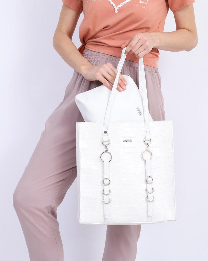 White shoulder bag