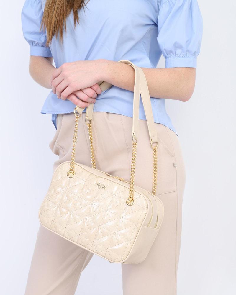 Καθημερινή τσάντα ώμου μπεζ