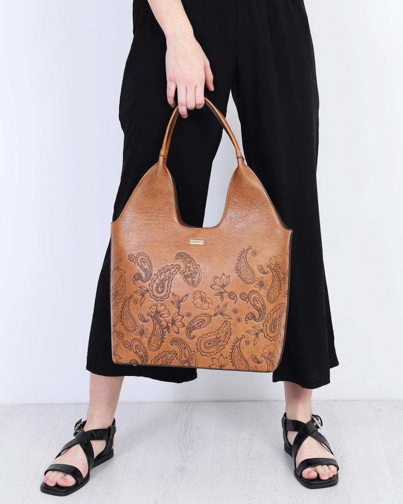 Καθημερινή τσάντα ώμου καφέ