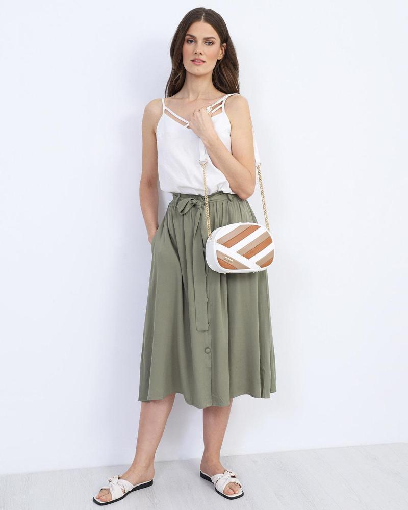 Μίντι φούστα χακί