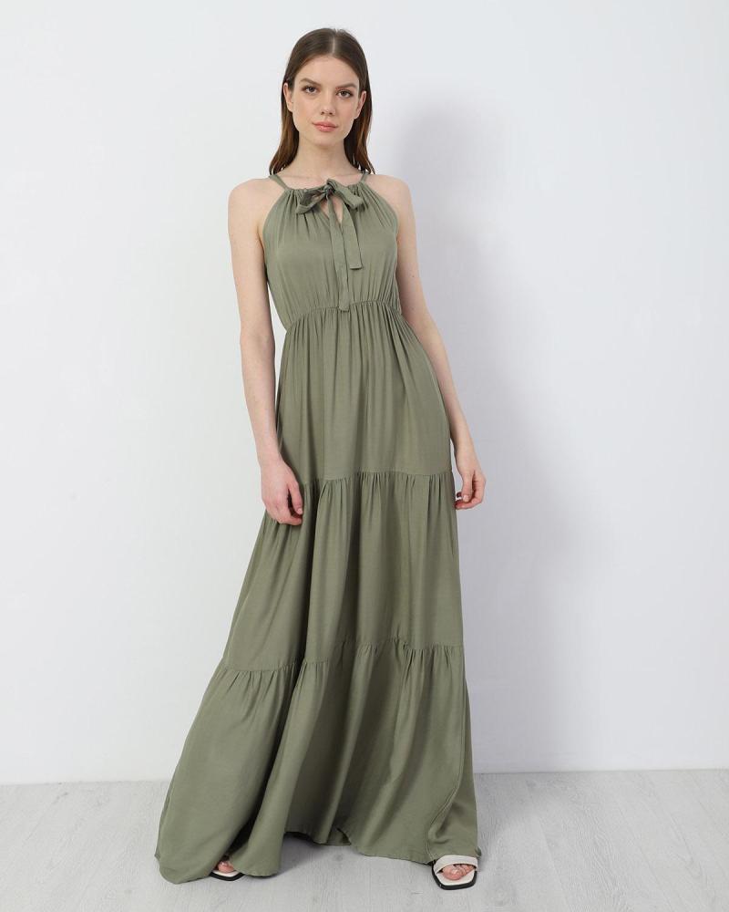 Μάξι φόρεμα χακί