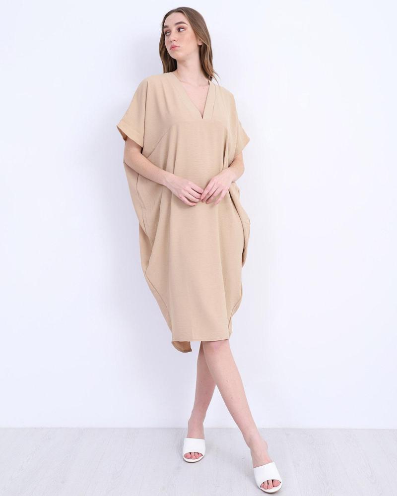 Μίντι φόρεμα μπεζ