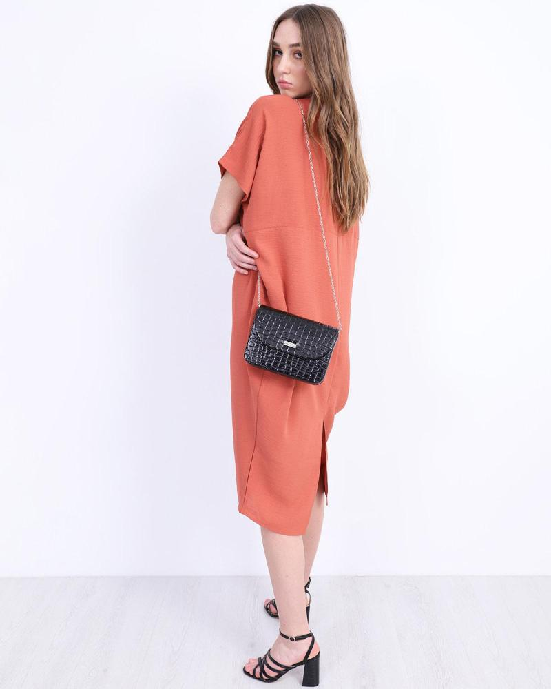 Orange midi kleid