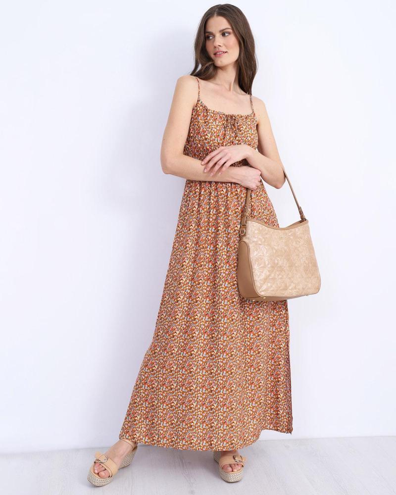 Μάξι φόρεμα καφέ