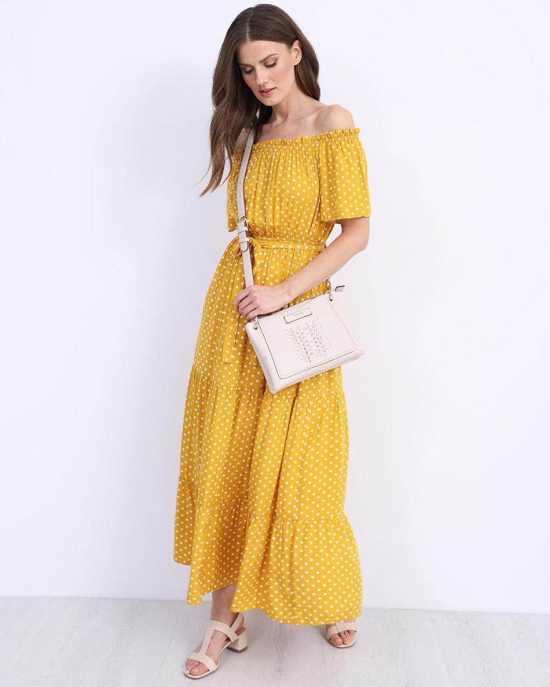 Gelb maxi kleid