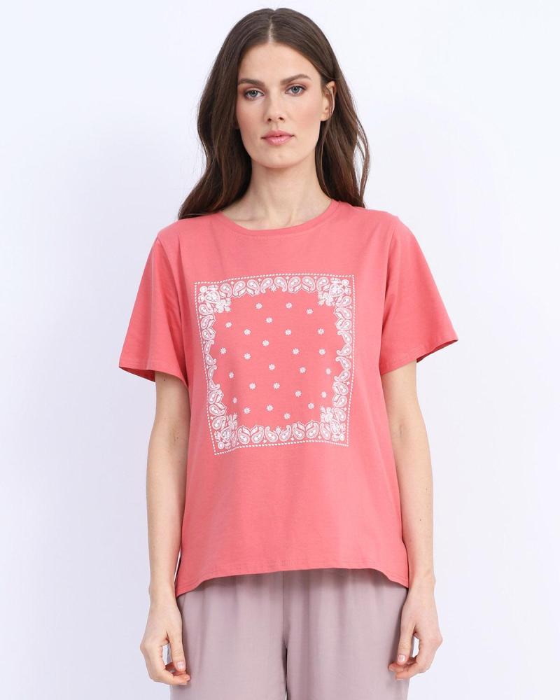 Coral t-shirt blouse