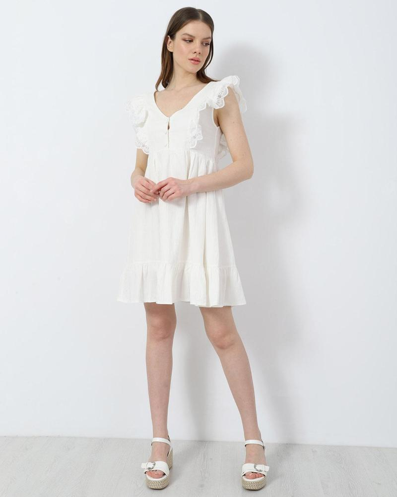 Weiß mini kleid