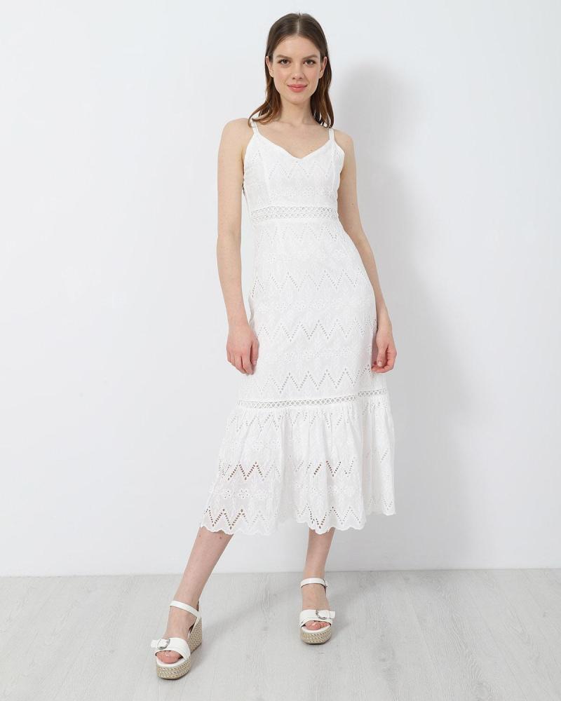 Weiß midi kleid