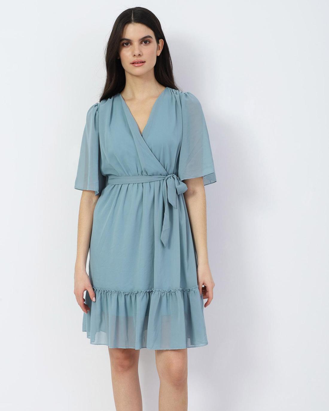 Hellblau mini kleid