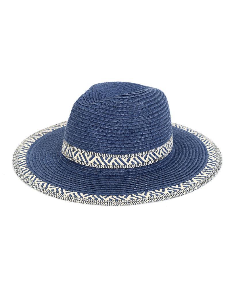 Ψάθινo καπέλο μπλε