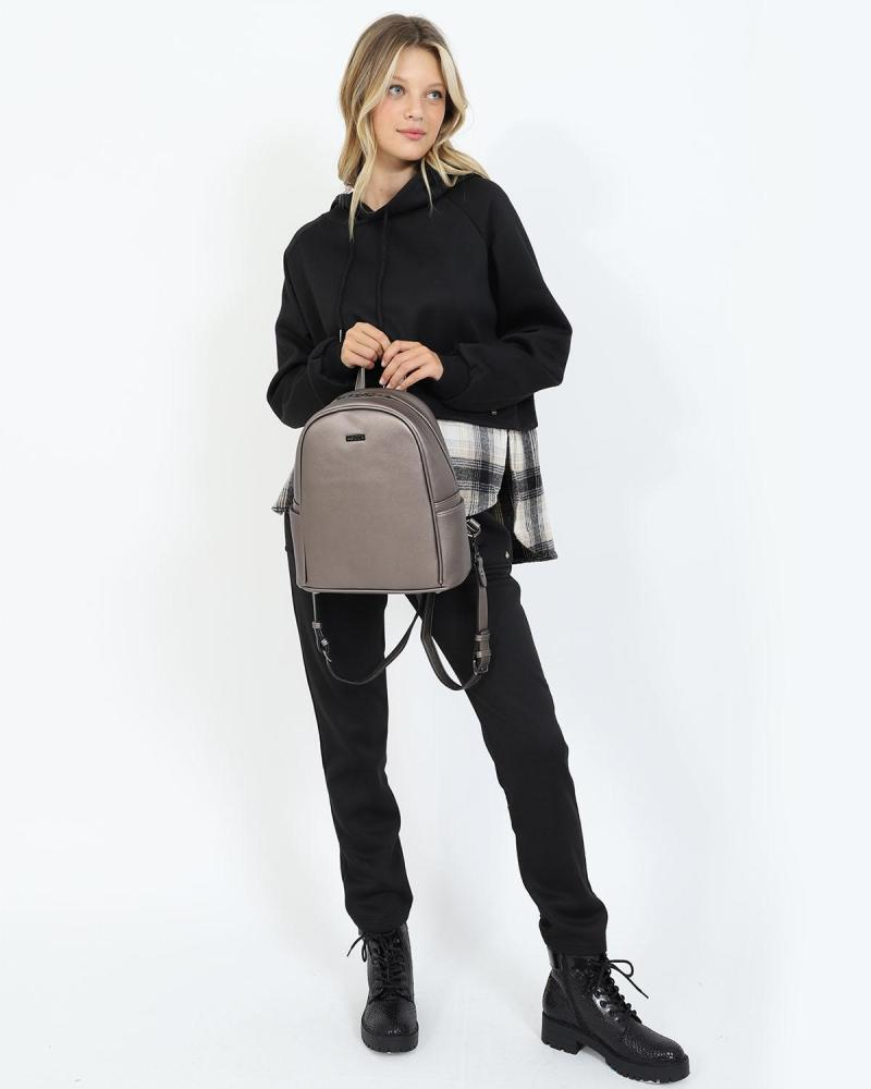Τσάντα πλάτης ασημί