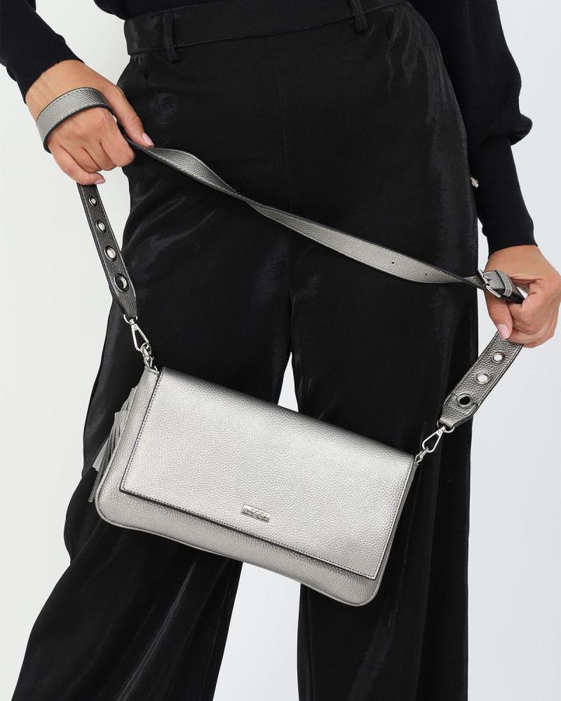 Τσάντα χιαστί ασημί