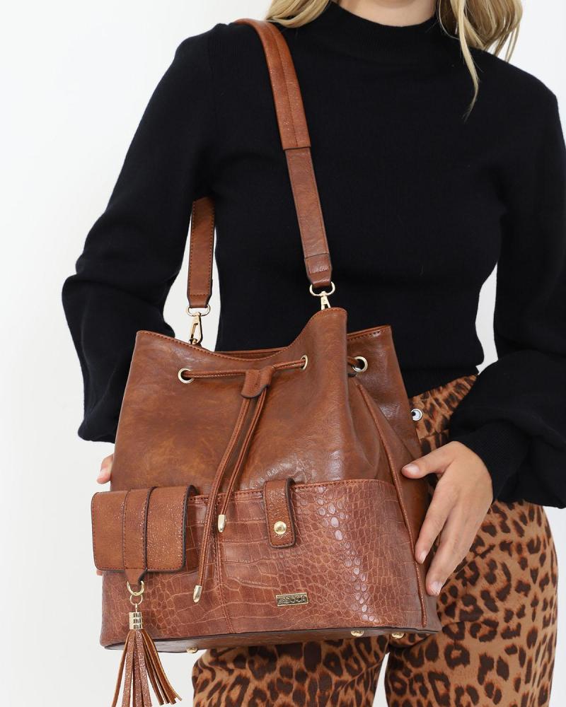Τσάντα πουγκί καφέ
