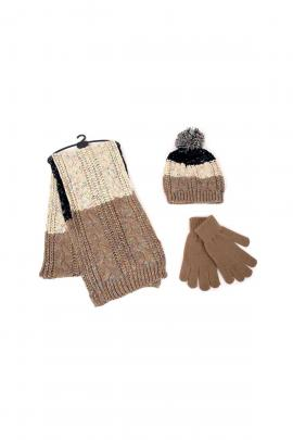 Ecru set of beanie, scarf, gloves