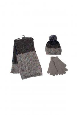 Grey set of beanie, scarf, gloves