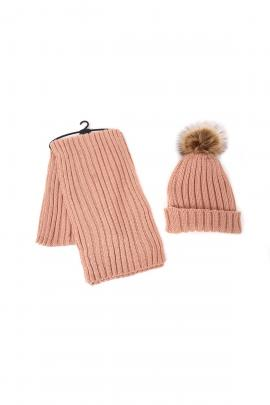 Pink set of beanie, scarf